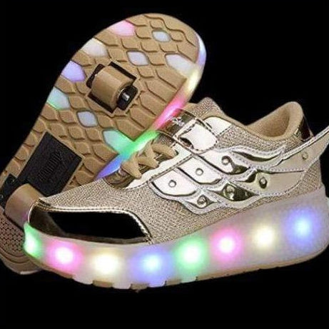 ledlegs Shoes Unisex Flying Wings LED Roller Shoes for Kids - Golden