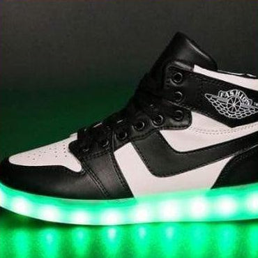 ledlegs Shoes Unisex LED sports shoes sneakers high top USB - B & W
