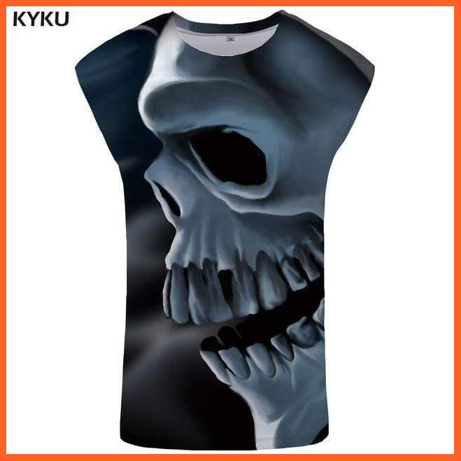 whatagift.com.au Skull Tank Top for Men -  Fitness Clothing - Undershirt