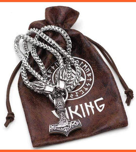 Thor's Mjolnir with Wolf Head on SS Chain