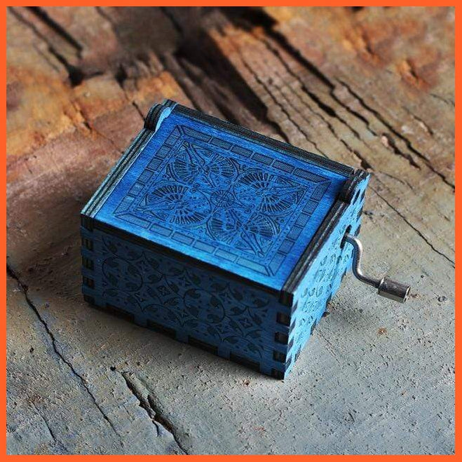 whatagift.com.au Wooden Classical Music Box Hand Crafted Blue