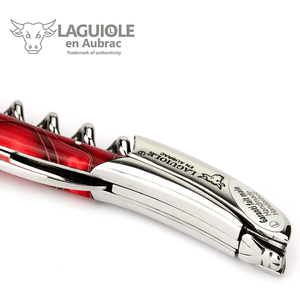Laguiole en Aubrac Sommelier Waiter's Corkscrew with Marshmallow Red Handle - LaguioleEnAubracShop