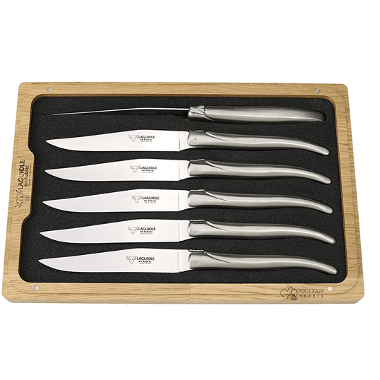 Laguiole en Aubrac Handcrafted 6-Piece Steak Knife Set with Matte Stainless Steel Handles
