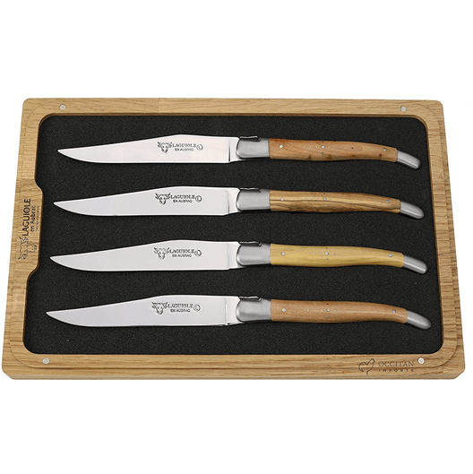 Laguiole en Aubrac Handcrafted Plated 4-Piece Steak Knife Set with Mixed French Woods Handles