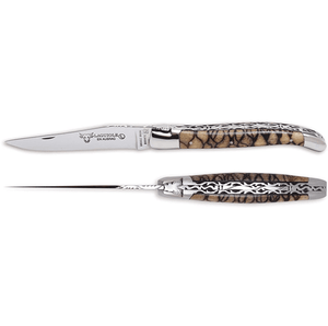 Laguiole en Aubrac Handcrafted Luxury Double Plated Multipurpose Knife with Striped Coral Tigre Handle,  4.75-inches - LaguioleEnAubracShop