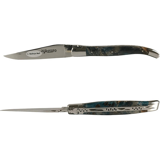 Laguiole en Aubrac Handcrafted Plated Multipurpose Knife, Buckeye Burl Blue Handle, 4.75 inches