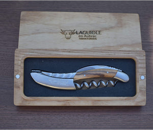 Laguiole en Aubrac Sommelier DeLuxe Waiter's Corkscrew with Olivewood Handle & Twisted Bolster - LaguioleEnAubracShop