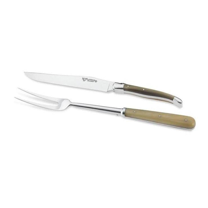 Laguiole en Aubrac Handcrafted Carving Set with Solid Horn Handle