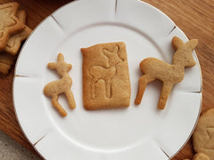 Gingerbread spiced deer butter cookies.  Cookie Cutter Shop.