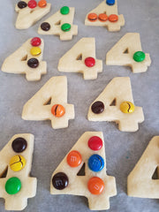 Shortbread cookies with M&Ms on top.  Baked.