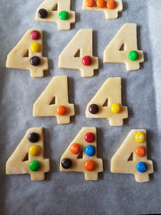 Shortbread cookies with M&Ms on top
