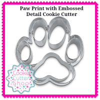 Paw Print with Embossed Detail Cookie Cutter from Cookie Cutter Shop Australia