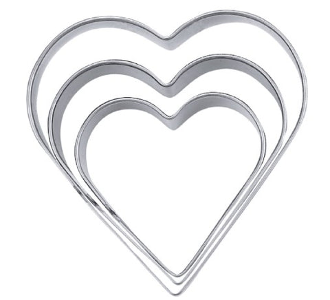 Heart Cookie Cutter Set of 3: 4, 4.8 & 6cm