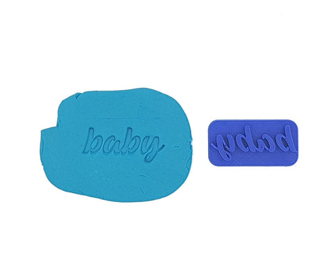 Baby Cookie Embosser Stamp Casual Cursive 4cm