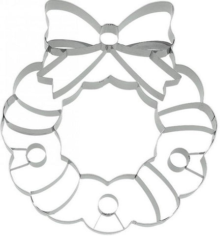 Christmas Wreath Cookie Cutter with Embossed Detail 18cm