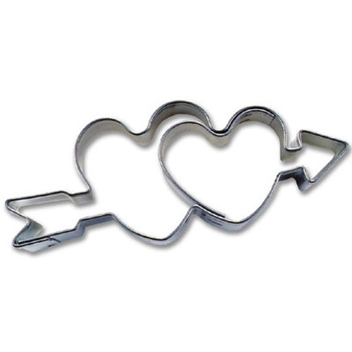 Double Heart with Arrow 6cm Cookie Cutter-Cookie Cutter Shop Australia