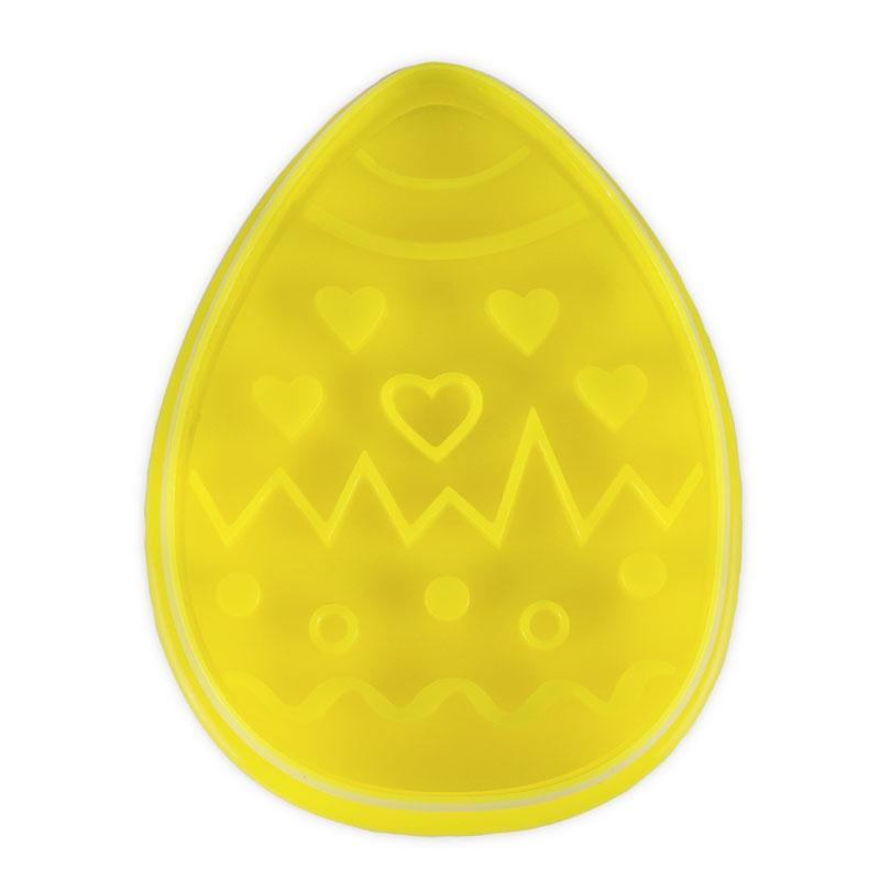Easter Egg Yellow 6.5cm Plastic Embossed Cookie Cutter-Cookie Cutter Shop Australia