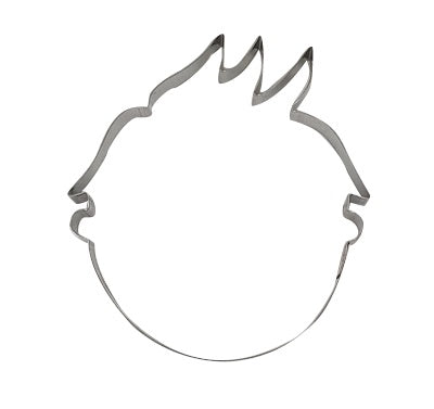 Head With Spiked Top Hair 10cm Cookie Cutter-Cookie Cutter Shop Australia