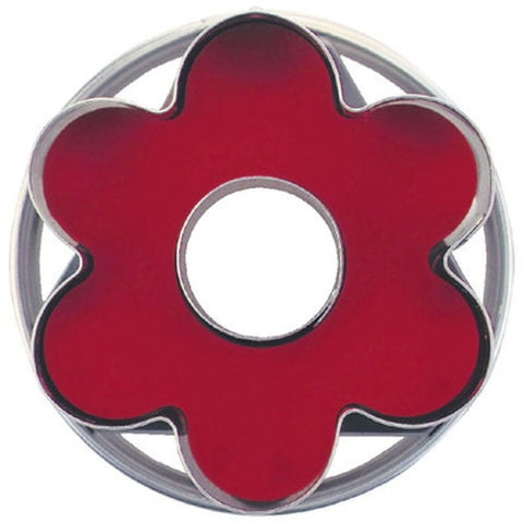 Flower with Circle in Middle Linzer Cookie Cutter with Ejector 5cm-Cookie Cutter Shop Australia