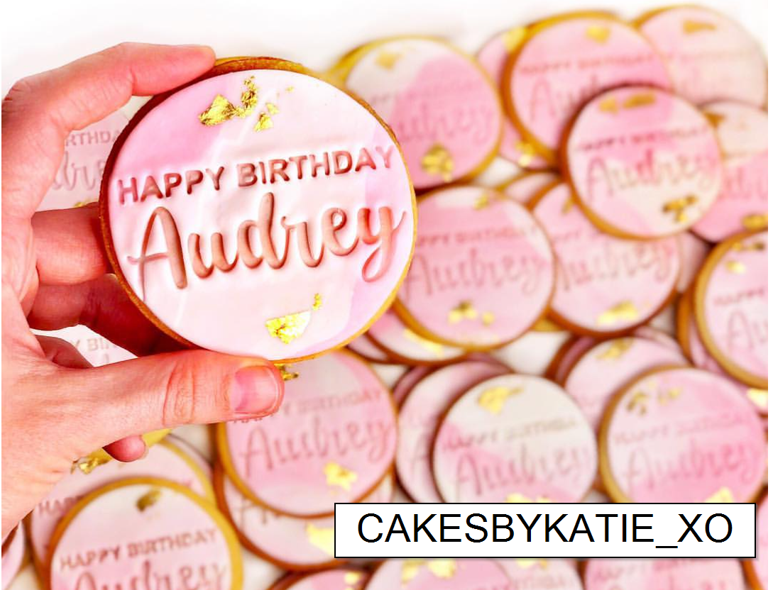 Happy Birthday with Fun Cursive Name CUSTOM Cookie Embosser-Cookie Cutter Shop Australia