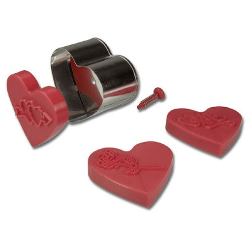 Heart Embossed Ejector 6cm Cookie Cutter-Cookie Cutter Shop Australia