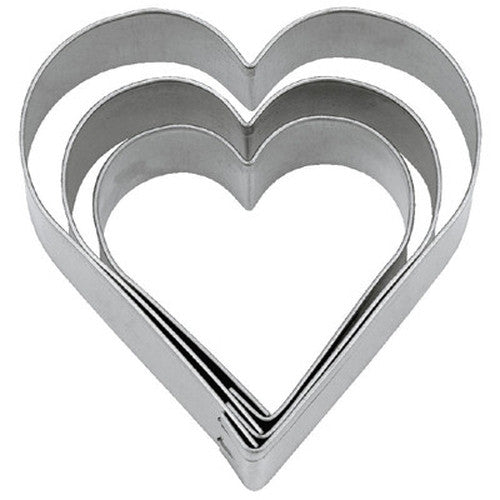 Heart Mini Tin Plate Set of 3 Cookie Cutters 2.5cm, 3.2cm & 4cm-Cookie Cutter Shop Australia