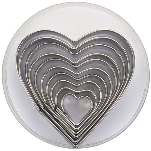Heart Set of 10 Cookie Cutters 3-11cm-Cookie Cutter Shop Australia