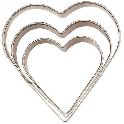 Heart Set of 3 Cookie Cutters 3, 4 & 5cm | Cookie Cutter Shop Australia