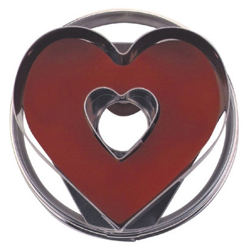 Heart with Heart in Middle Linzer Cookie Cutter with Ejector 5cm | Cookie Cutter Shop Australia
