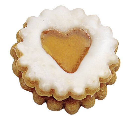 Round Crinkled with Heart in Middle Linzer Cookie Cutter with Ejector 5cm