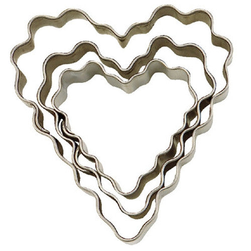 Hearts Crinkled Set of 3 Cookie Cutters 3.5, 4.5 & 6cm-Cookie Cutter Shop Australia