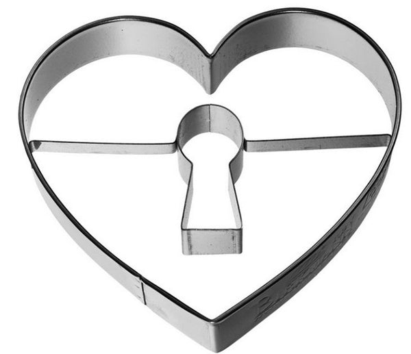 Heart with Keyhole Cookie Cutter Embossed Detail 7cm