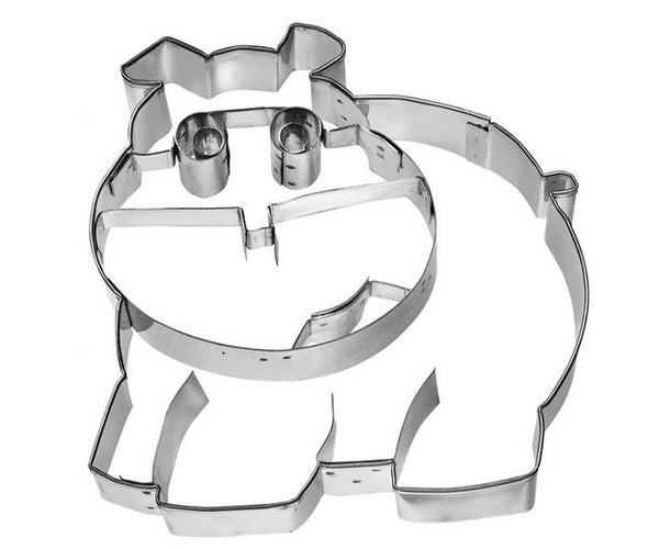 Hippopotamus Cookie Cutter with Embossed Detail