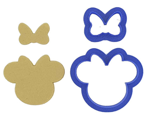 Mouse Face With Bow 9cm Cookie Cutter