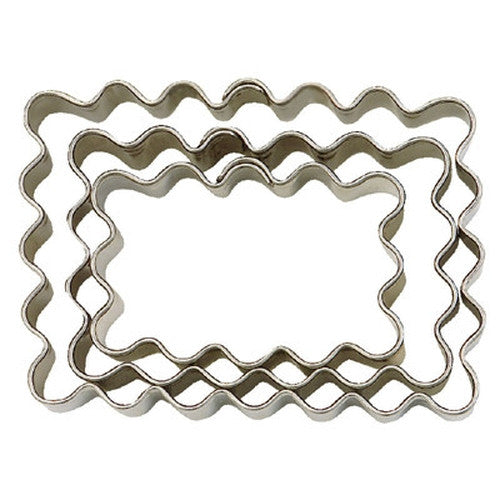 Small Rectangle Crinkled Set of 3 Cookie Cutters 4.3, 5.4 & 6.2cm-Cookie Cutter Shop Australia