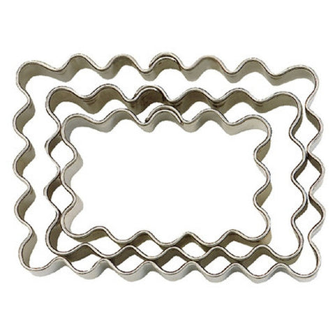 Small Rectangle Crinkled Set of 3 Cookie Cutters 4.3, 5.4 & 6.2cm | Cookie Cutter Shop Australia