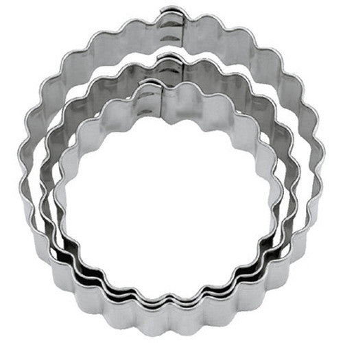 Round Circles Crinkled Tin Plate Set of 3 Cookie Cutters 4, 4.5 & 5.5cm-Cookie Cutter Shop Australia