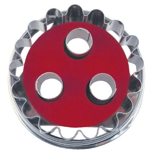 Round Crinkled with 3 Circles in Middle Linzer Cookie Cutter with Ejector 5cm-Cookie Cutter Shop Australia