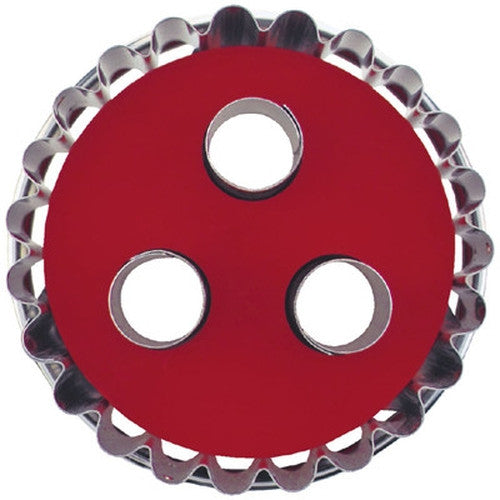 Round Crinkled with 3 large Circles in Middle Linzer Cookie Cutter with Ejector-Cookie Cutter Shop Australia