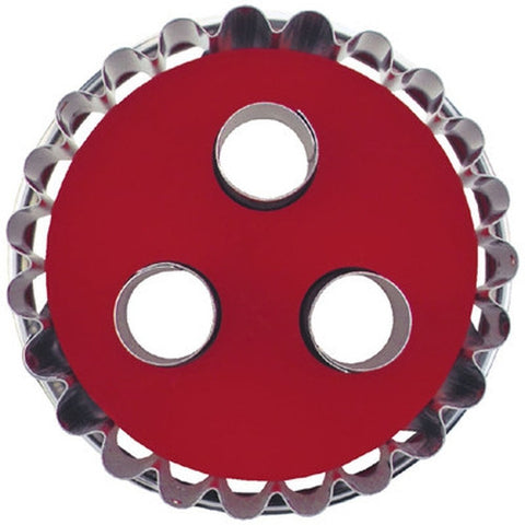 Round Crinkled with 3 large Circles in Middle Linzer Cookie Cutter with Ejector 7cm-Cookie Cutter Shop Australia