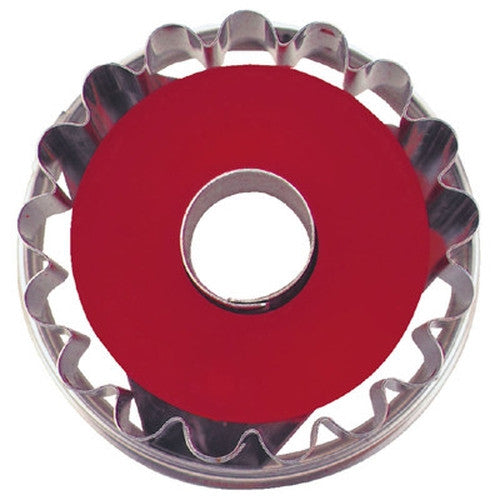 Round Crinkled with Circle in Middle Linzer Cookie Cutter with Ejector 5cm-Cookie Cutter Shop Australia