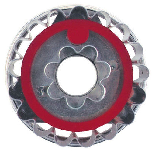 Round Crinkled with Flower in Middle Linzer Cookie Cutter with Ejector 5cm-Cookie Cutter Shop Australia