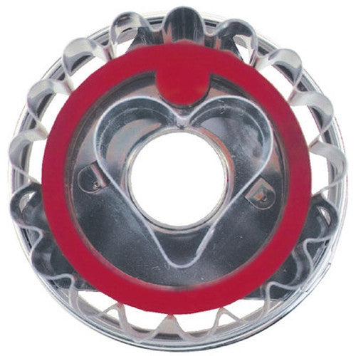 Round Crinkled with Heart in Middle Linzer Cookie Cutter with Ejector 5cm-Cookie Cutter Shop Australia