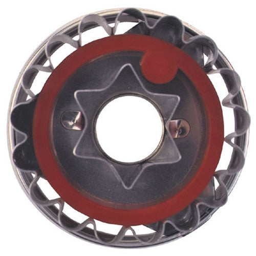 Round Crinkled with Star in Middle Linzer Cookie Cutter with Ejector 5cm-Cookie Cutter Shop Australia