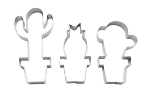 Cactus Set of 3 Cookie Cutters 8cm - 10cm-Cookie Cutter Shop Australia