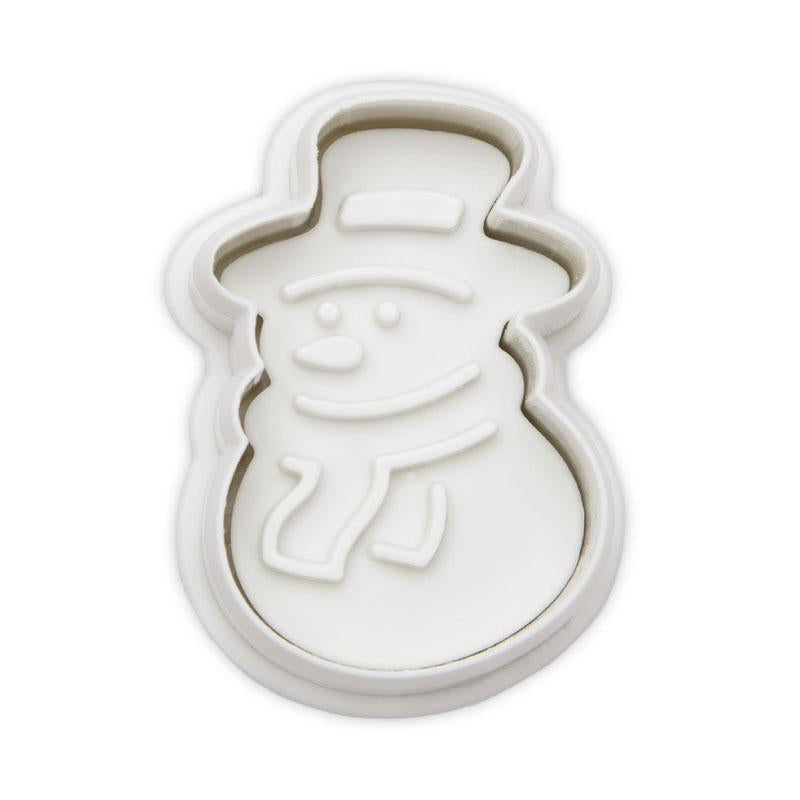 Snowman White 4.7cm Plastic Embossed Cookie Cutter-Cookie Cutter Shop Australia
