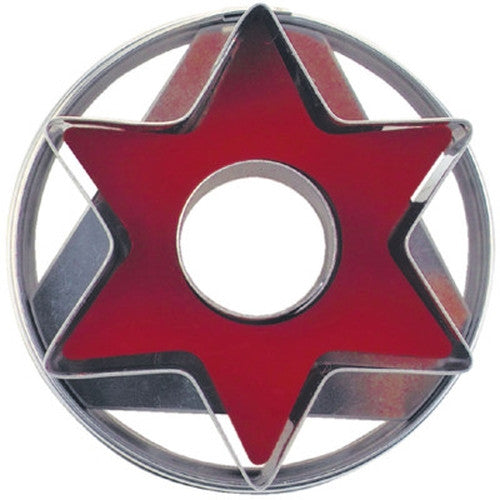 Star with Circle in Middle Linzer Cookie Cutter with Ejector 5cm-Cookie Cutter Shop Australia