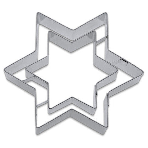 Star with inner Star Embossed Detail Cookie Cutter-Cookie Cutter Shop Australia