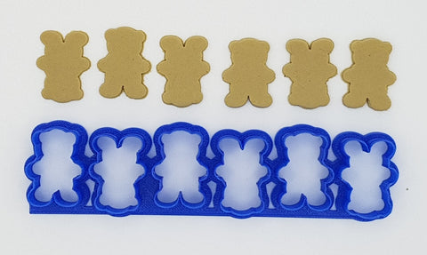 Mini Teddies In A Row 3cm Cookie Cutter-Cookie Cutter Shop Australia