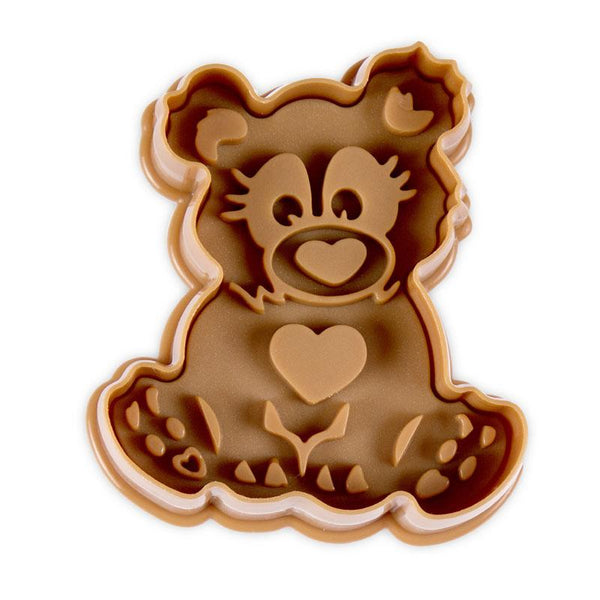 Teddy Brown 6cm Plastic Embossed Cookie Cutter-Cookie Cutter Shop Australia